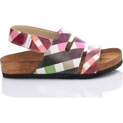 Rzymianki damskie: Sandały w kolorze biało-różowo-zielonym