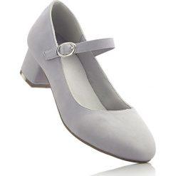 Czółenka z paskiem bonprix szary. Szare buty ślubne damskie bonprix. Za 74,99 zł.