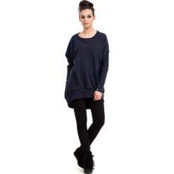 Bluzy damskie: Granatowa Bluza Oversizowa Nierozpinana z Koronką
