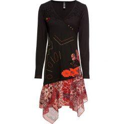 Sukienka shirtowa z szyfonową wstawką bonprix czarno-czerwony. Czarne sukienki asymetryczne bonprix, z aplikacjami, z szyfonu, z asymetrycznym kołnierzem. Za 139,99 zł.