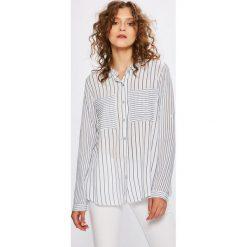 Answear - Koszula Stripes Vibes. Szare koszule wiązane damskie ANSWEAR, l, w paski, z dzianiny, casualowe, z klasycznym kołnierzykiem, z długim rękawem. W wyprzedaży za 59,90 zł.