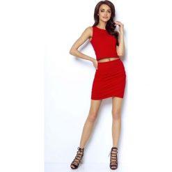 Czerwona Dopasowana Mini Spódnica z Kopertowym Założeniem. Czerwone minispódniczki Molly.pl, l, z bawełny, eleganckie, z podwyższonym stanem, dopasowane. Za 79,90 zł.