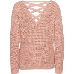 Sweter ze sznurowaniem z tyłu bonprix stary jasnoróżowy. Czerwone swetry klasyczne damskie bonprix, ze sznurowanym dekoltem. Za 89,99 zł.