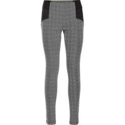 Spodnie damskie: Tregginsy z elastycznego żakardu bonprix biel wełny – czarny wzorzysty