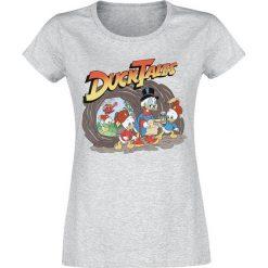 DuckTales Adventure Koszulka damska odcienie szarego. Szare bluzki z odkrytymi ramionami marki DuckTales, xl, z nadrukiem, z okrągłym kołnierzem. Za 74,90 zł.