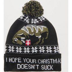 Czapka ze świątecznym motywem - Czarny. Czarne czapki męskie House, wizytowe. Za 49,99 zł.