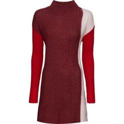 Sweter dzianinowy bonprix czerwono-bordowo-pastelowy jasnoróżowy melanż. Czerwone swetry klasyczne damskie marki bonprix, z dzianiny, ze stójką. Za 54,99 zł.