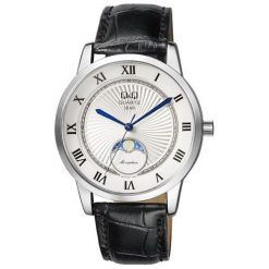 Zegarek Q&Q Męski z fazami księżyca QZ10-307 Klasyczny czarny. Czarne zegarki męskie Q&Q. Za 199,00 zł.
