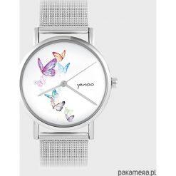 Zegarki damskie: Zegarek - Motyle - metalowy