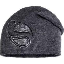 Czapki zimowe damskie: Szara czapka z cyrkoniami QUIOSQUE
