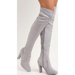 Szare Kozaki End Of Beginning. Szare buty zimowe damskie Born2be, z okrągłym noskiem, na wysokim obcasie. Za 139,99 zł.