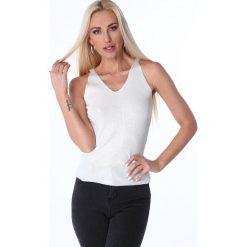 Bluzki damskie: Bluzka na ramiączka metalizowana kremowa 3700