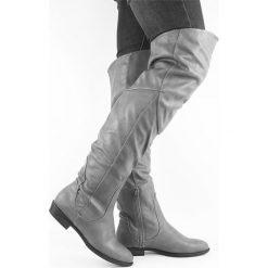 Wysokie Kozaki Muszkieterki za Kolana Jesień. Szare buty zimowe damskie marki Merg, z materiału, na wysokim obcasie. Za 79,00 zł.