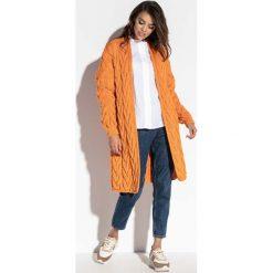 Kardigany damskie: Pomarańczowy Niezapinany Długi Kardigan w Warkocze