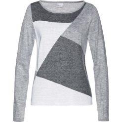 Sweter bonprix szaro-biel wełny. Szare swetry klasyczne damskie marki bonprix, z dzianiny. Za 84,99 zł.