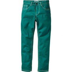 Rurki dziewczęce: Spodnie Slim Fit z zagnieceniami bonprix ciemnoszmaragdowy