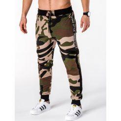 SPODNIE MĘSKIE DRESOWE P665 - KHAKI. Brązowe spodnie dresowe męskie Ombre Clothing, z bawełny. Za 65,00 zł.