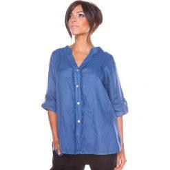 """Bluzki asymetryczne: Lniana bluzka """"Prune"""" w kolorze niebieskim"""