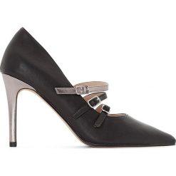 Buty ślubne damskie: Czółenka z potrójnym paskiem, metalizowany obcas