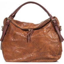 Torebki klasyczne damskie: Skórzana torebka w kolorze jasnobrązowym – 40 x 36 x 16 cm