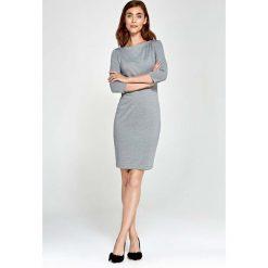 Sukienki: Szara Sukienka Ołówkowa z Asymetrycznym Drapowaniem