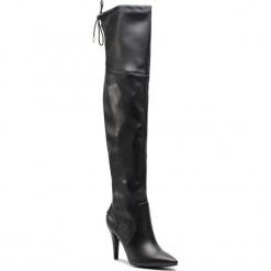 Muszkieterki GUESS - FLNOR4 ELE11 BLACK. Czarne buty zimowe damskie marki Guess, z materiału, przed kolano, na wysokim obcasie, na obcasie. Za 859,00 zł.