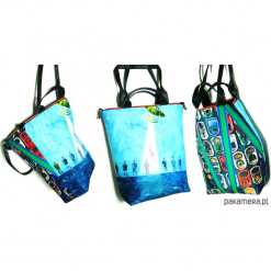 1248 art MIMA bag UNI & Krzysztof Malewicz print. Niebieskie shopper bag damskie Pakamera, w paski, przez ramię. Za 399,00 zł.