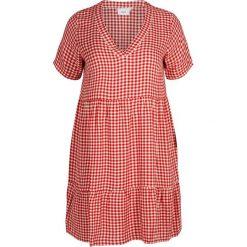 Sukienki hiszpanki: Sukienka rozkloszowana, półdługa z krótkimi rękawami