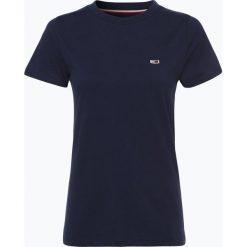 Tommy Jeans - T-shirt damski, niebieski. Szare t-shirty damskie marki Tommy Jeans, l, z dzianiny, z podwyższonym stanem, dopasowane. Za 119,95 zł.
