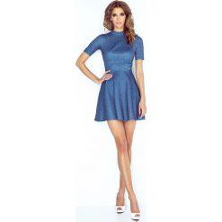 Sukienki: Granatowa Kobieca Sukienka z Półgolfem
