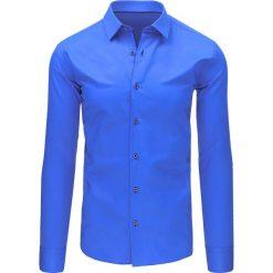 Koszule męskie na spinki: Koszula męska niebieska (dx1493)