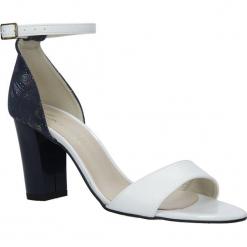 Białe sandały z paskiem wokół kostki na słupku Casu 3093. Białe sandały damskie Casu, na słupku. Za 89,99 zł.