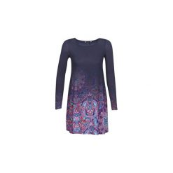 Sukienki krótkie Desigual  TROYA. Szare sukienki mini marki Desigual, l, z tkaniny, casualowe, z długim rękawem. Za 279,20 zł.