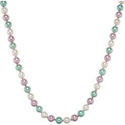 Naszyjniki damskie: Naszyjnik z pereł w kolorze jasnoróżowo-biało-błękitnym – dł. 42 cm