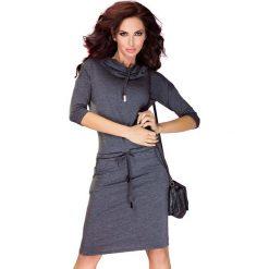 Chantal Sukienka sportowa z golfem - Szary Grafit. Szare sukienki sportowe marki numoco, z wiskozy, z golfem, sportowe. Za 110,00 zł.