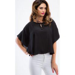 Bluzki asymetryczne: Czarna luźna bluzka 21227