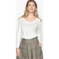 T-shirty damskie: Gładki t-shirt z dekoltem w serek, długi rękaw