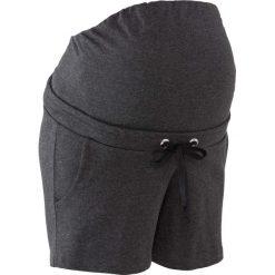 Wygodne szorty ciążowe z gumką bonprix antracytowy melanż. Niebieskie spodnie ciążowe marki bonprix, w paski, z dżerseju. Za 69,99 zł.
