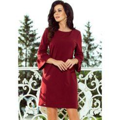 Haven sukienka z koronką na rękawkach - BORDOWA. Czerwone sukienki hiszpanki numoco, s, w koronkowe wzory, z koronki, rozkloszowane. Za 139,99 zł.