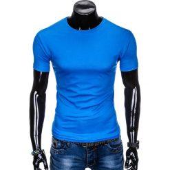 T-shirty męskie: T-SHIRT MĘSKI BEZ NADRUKU S883 - NIEBIESKI