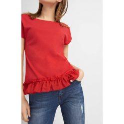 Odzież damska: Koszulka bimaterial z falbanką