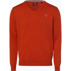 Gant - Sweter męski, beżowy. Brązowe swetry klasyczne męskie marki GANT, m, z haftami, z bawełny, z dekoltem w serek. Za 449,95 zł.