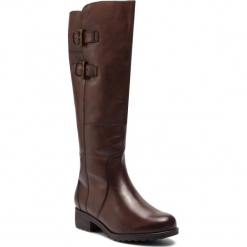 Oficerki CAPRICE - 9-26600-21 Dk Brown Nappa 337. Brązowe buty zimowe damskie Caprice, z materiału, na obcasie. W wyprzedaży za 359,00 zł.