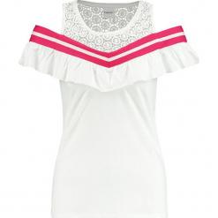 Top w kolorze białym. Białe topy damskie marki Taifun, w koronkowe wzory, z koronki, z okrągłym kołnierzem. W wyprzedaży za 65,95 zł.