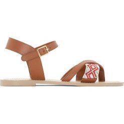 Rzymianki damskie: Skórzane sandały z paskiem między palcami, z koralikami