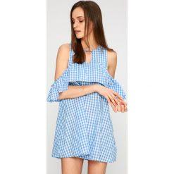 Answear - Sukienka Stripes Vibes. Szare sukienki mini ANSWEAR, na co dzień, l, z bawełny, casualowe, z okrągłym kołnierzem. W wyprzedaży za 59,90 zł.