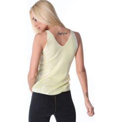 Bluzki damskie: Bluzka na ramiączka metalizowana cytrynowa 3700