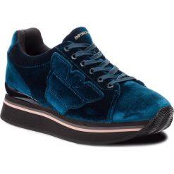Sneakersy EMPORIO ARMANI - X3X057 XD163 00357 Petrolio. Niebieskie sneakersy damskie Emporio Armani, z materiału. Za 769,00 zł.