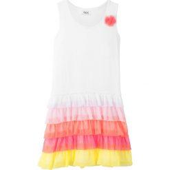 Sukienki dziewczęce: Sukienka z falbanami bonprix biało-jasnoróżowy