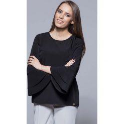 Bluzki, topy, tuniki: Czarna Elegancka Asymetryczna Bluzka z Hiszpańskim Rękawem